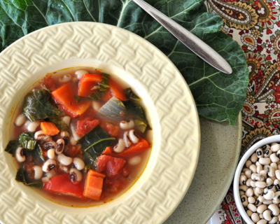 New Year's Soup with Black-eyed Peas & Collard Greens, a good-luck soup for the new year ♥ AVeggieVenture.com