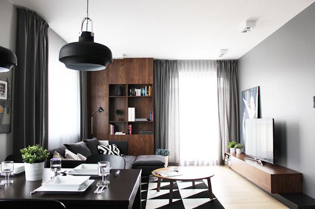 Modern și masculin într-o garsonieră de 33 m² din Polonia