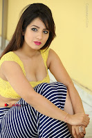 Cute Telugu Actress Shunaya Solanki High Definition Spicy Pos in Yellow Top and Skirt  0418.JPG