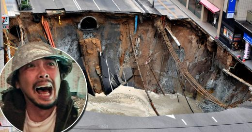 Un enorme agujero en Japón se traga un pedazo de calle