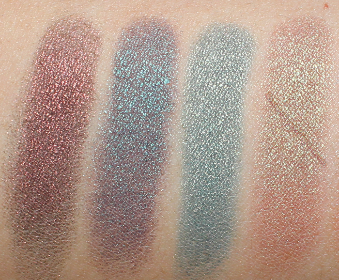 Makeup Geek Duochrome Eyeshadows Swatches: Steampunk, Secret Garden, Typhoon, Ritzy