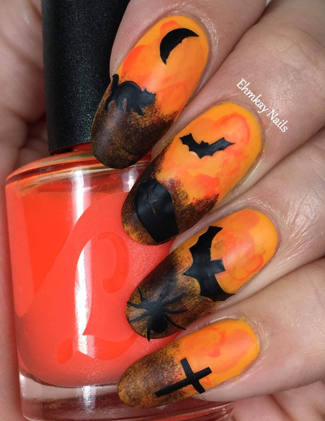 halloween nail art with halloween spooky stickers from lipsticks u0026 nail polish