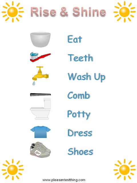 free printable morning chart for preschooler
