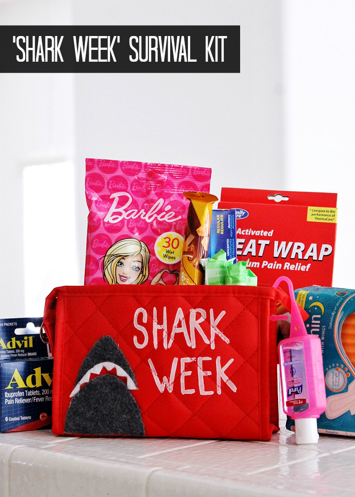 """Shark Week"" Period Survival Kit for students (or cheeky individuals) #DoingThe99 #99YourSchoolYear #AD"