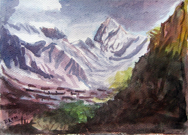 Watercolor Painting of Mountain in Warm Mood