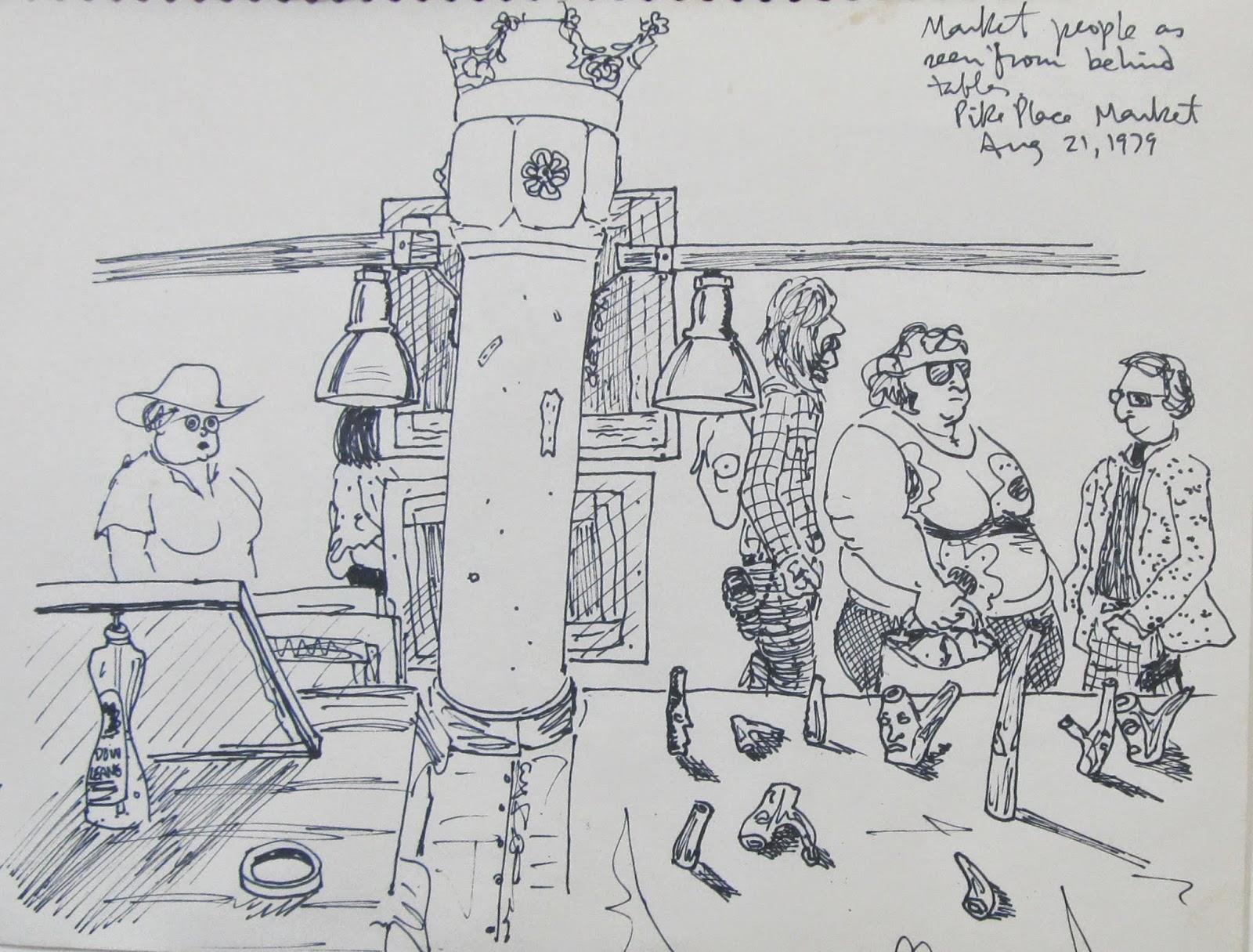 """Market People, Pike Place Market, Seattle."" 8.5 x 11 inches. Pen and Ink. 1979"