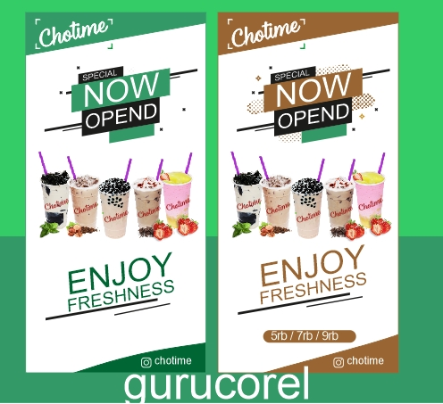Download Template X Banner Minuman Gelas Cdr