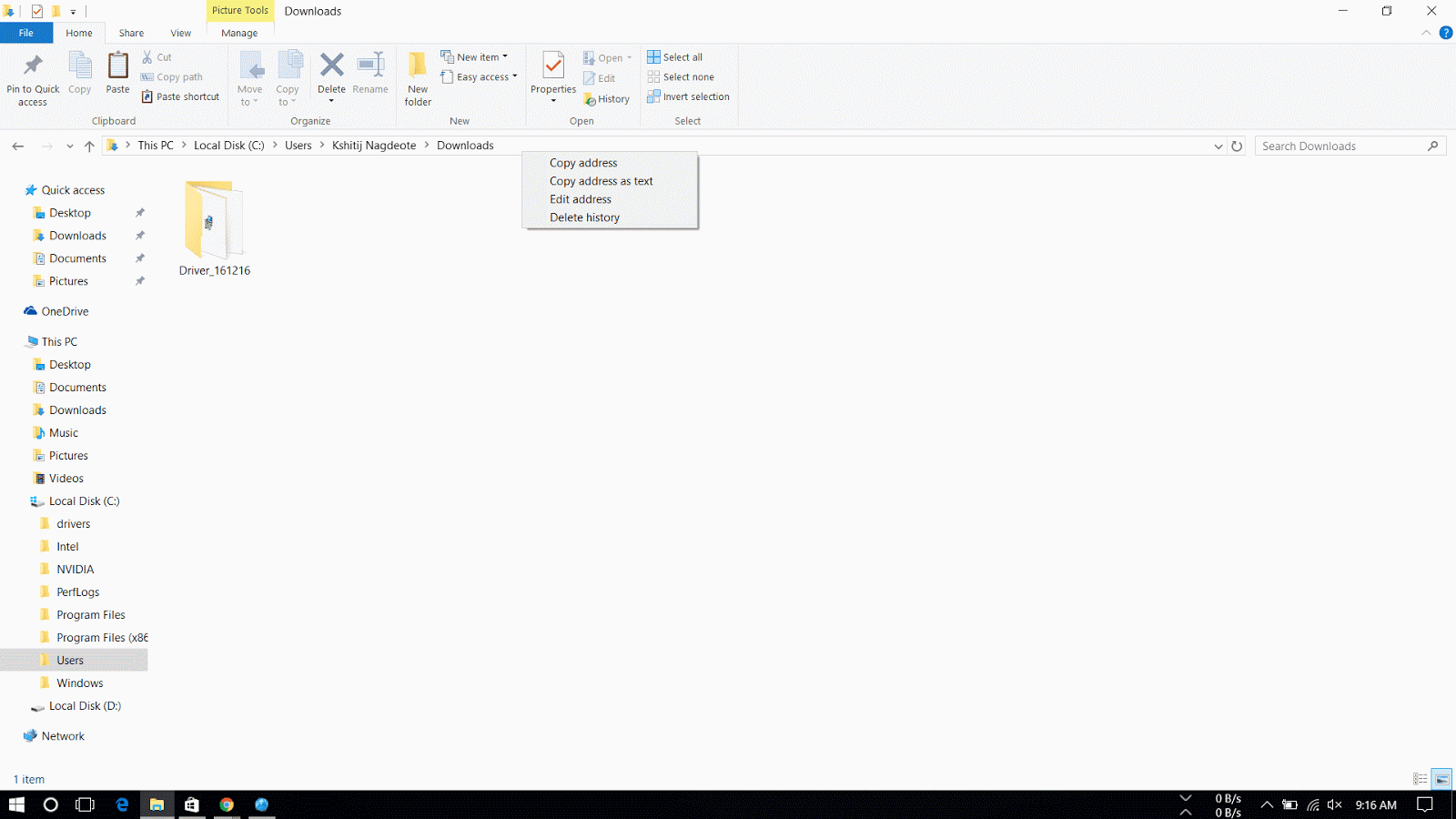 copy address of folder in windows 10