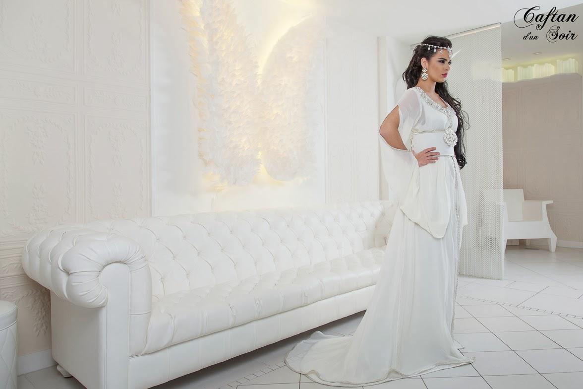 0d34617f5ddc3 القفطان المغربي   أحدث صيحات القفطان المغربي باللون الأبيض - أنتِ ...
