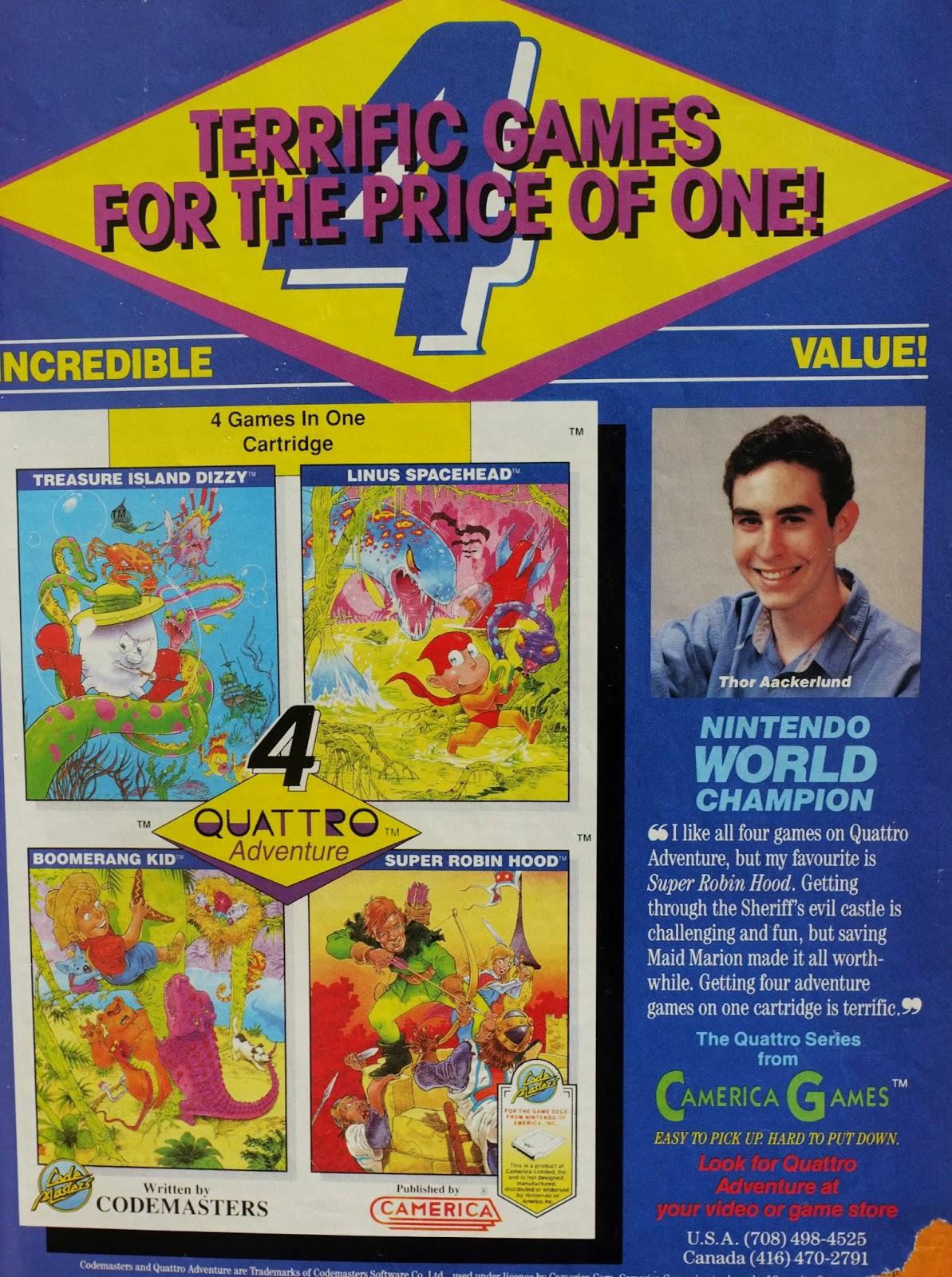 Quattro Adventure for NES advertisement
