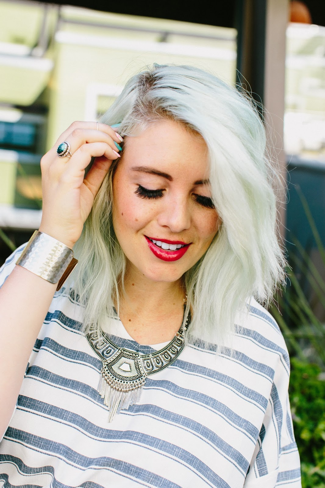 Rhubarb LipSense, Stripes, Blue Hair