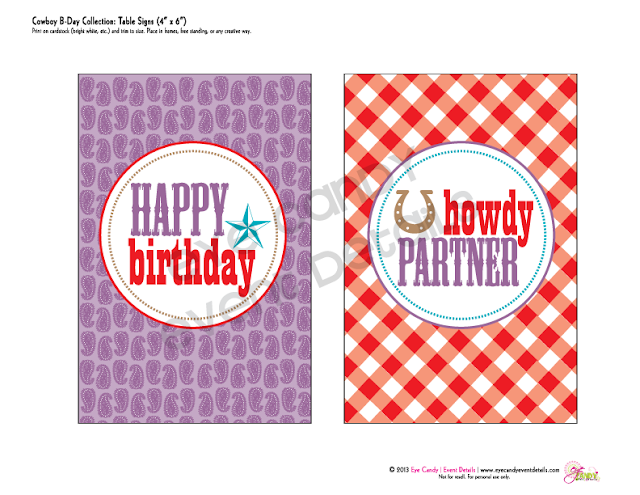 birthday table signs, happy birthday cowboy, howdy partner sign