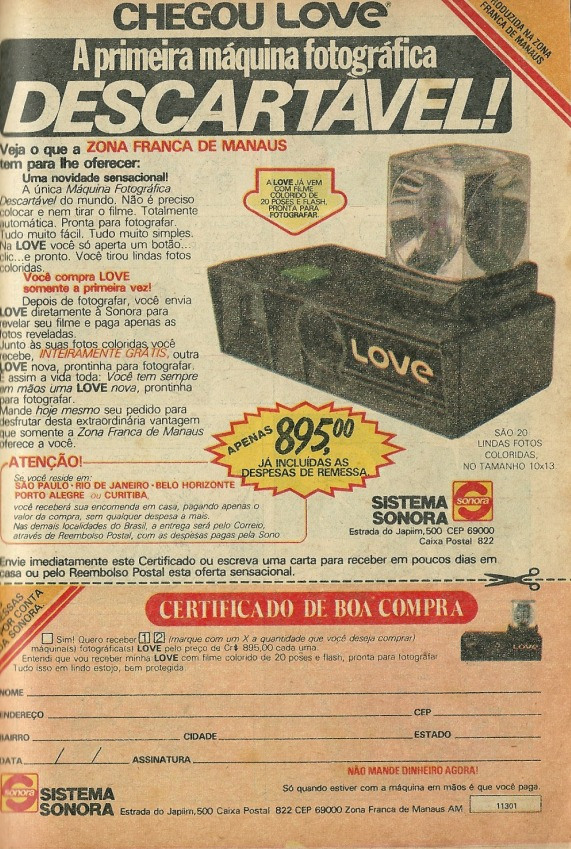 Propaganda da Máquina Fotográfica Love da Sonora, em 1981.