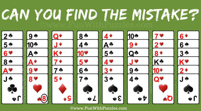 Answer of Mistake Finding Freecell Solitaire Card Game Puzzle