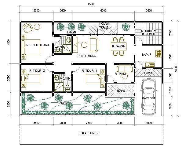 Denah Rumah Minimalis 1 Lantai Dengan 3 Kamar Tidur Dan Bergarasi