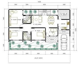 Denah Rumah Minimalis 1 Lantai Dengan 3 Kamar Tidur Dan