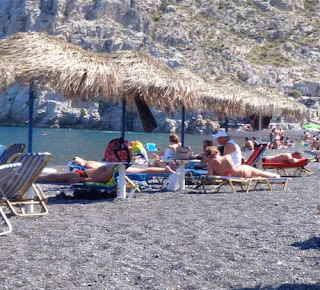 Kamari Black Sand Beach Santorini Greece