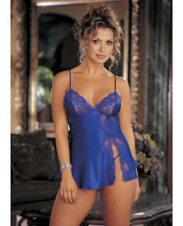Charmeuse and Lace Babydoll w/Adjustable Straps and Thong Electric Blue