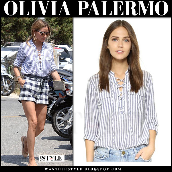 Olivia Palermo in striped lace up madewell terrace shirt, check print shorts and ballet flats pretty ballerinas what she wore greece