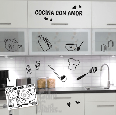 vinilo decorativo cocina con amor elementos de cocina