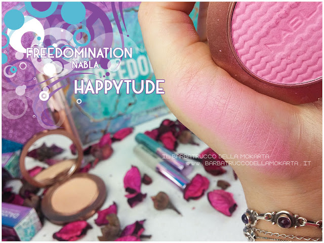 happytude blossom  swatches blush nabla cosmetics  recensione freedomination collection summer