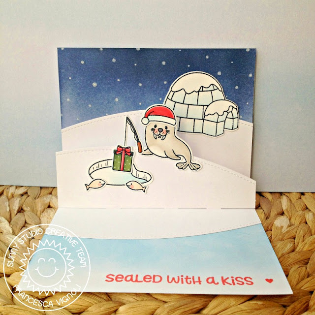 Sunny Studio Stamps: Polar Playmates Winter Interactive Christmas Card by Francesca Vignoli