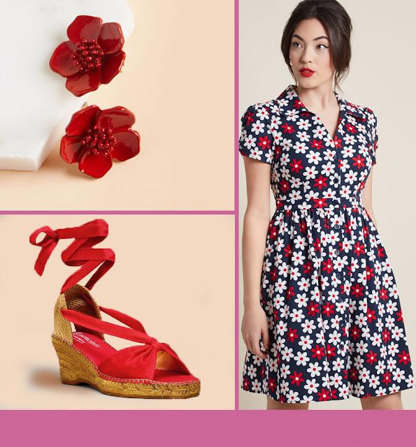 robe à fleurs, boucles d'oreilles à fleur rouges, espadrilles lacées