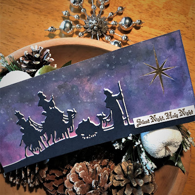 Sara Emily Barker https://sarascloset1.blogspot.com/2018/12/silent-night-holy-night.html Silent Night Holy Night Christmas Card Tim Holtz Sizzix Alterations Wise Men 4