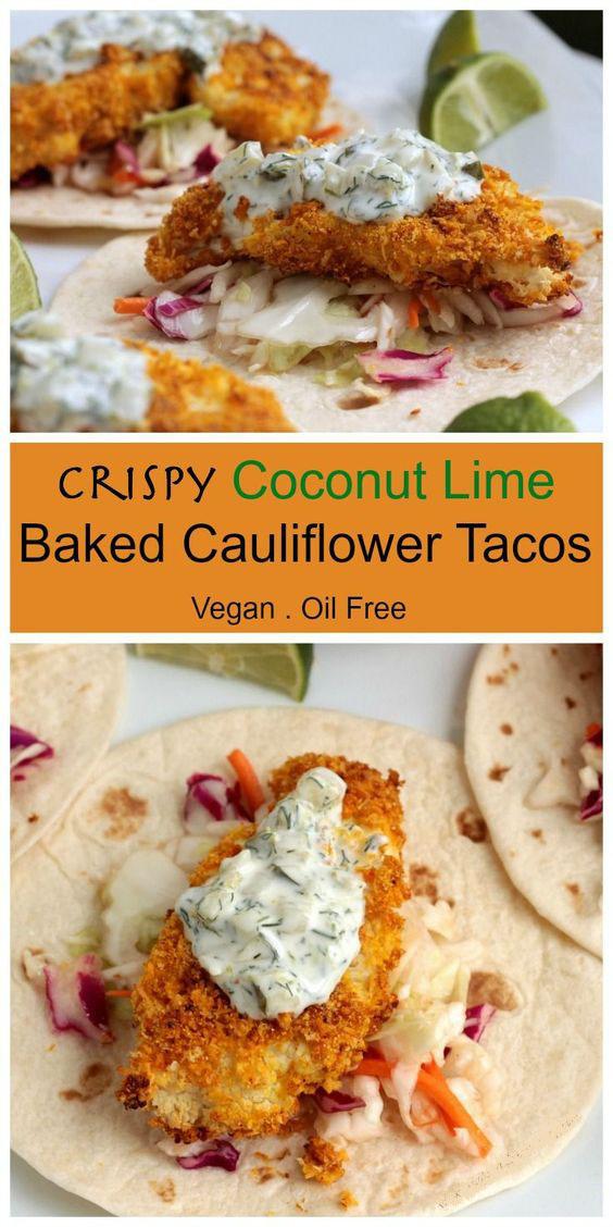 Crispy Coconut Lime Baked Cauliflower Tacos