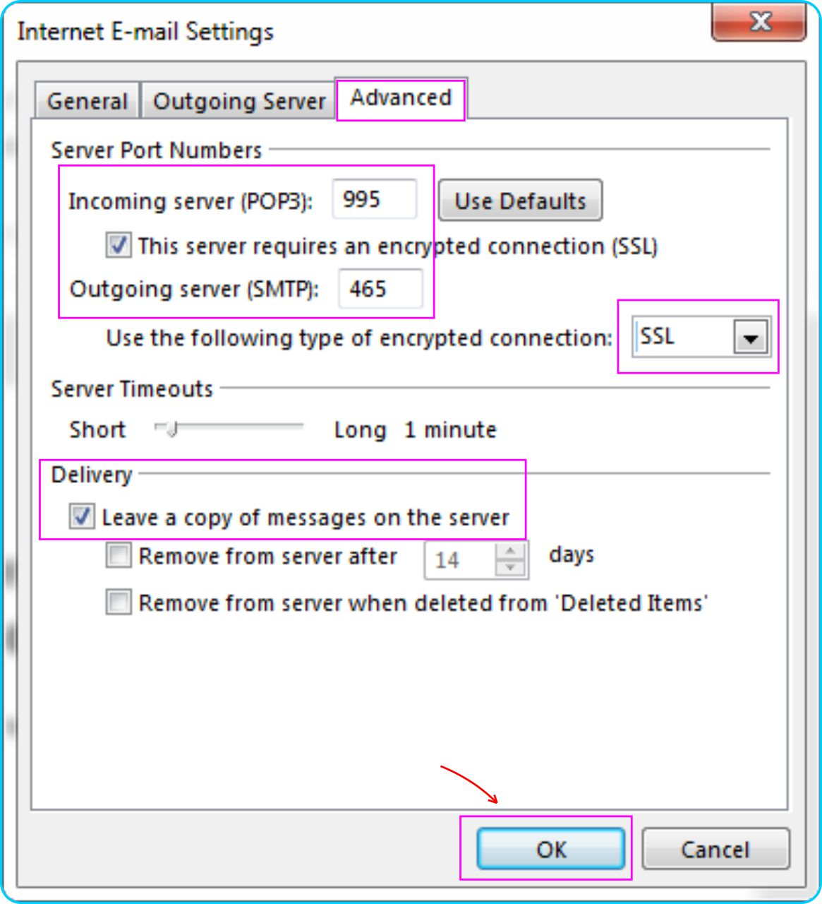 GMail Pada Outlook - Setting Port Server POP Akun GMail