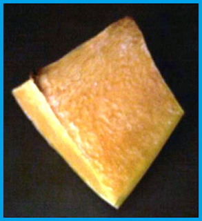 Brilliant yellow butternut squash chunk with slight browning at the corners.  The outside has a slightly dried appearance.
