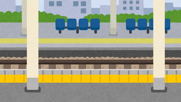 駅のホームのイラスト(背景素材)