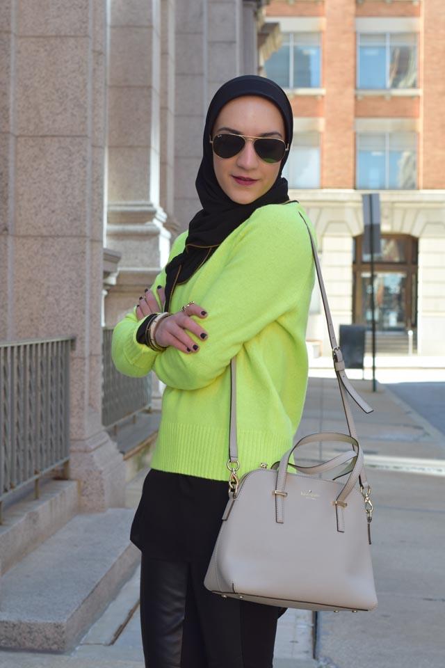 A Day In The Lalz; Fashion Blogger; Neon Sweater; J. Crew Holly Sweater; Leather legging; Winter Neon Look; Hijabi; Vela Zipper Edge Scarf; Kate Spade cedar street maise; Modest Fashion