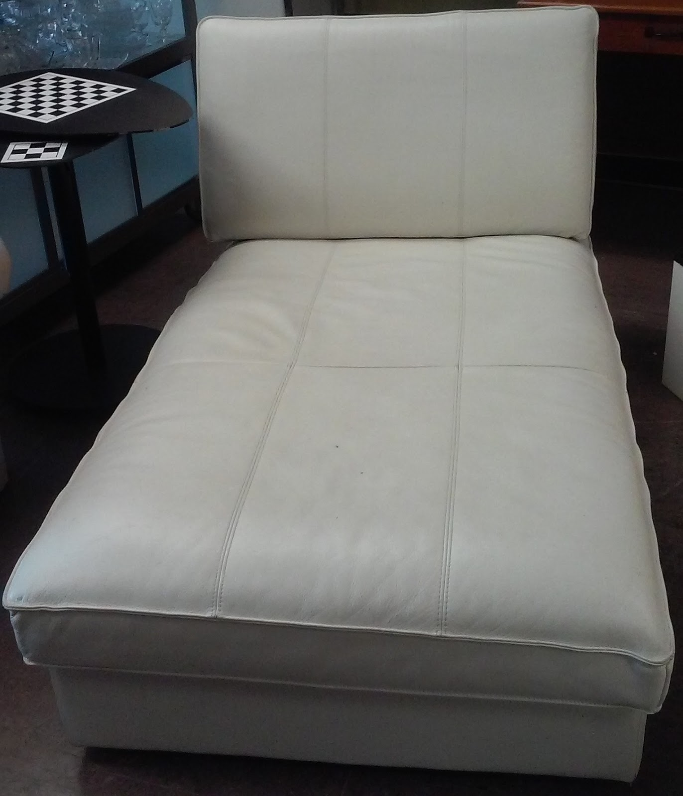 UHURU FURNITURE & COLLECTIBLES SOLD Modern White Leather Chaise $110