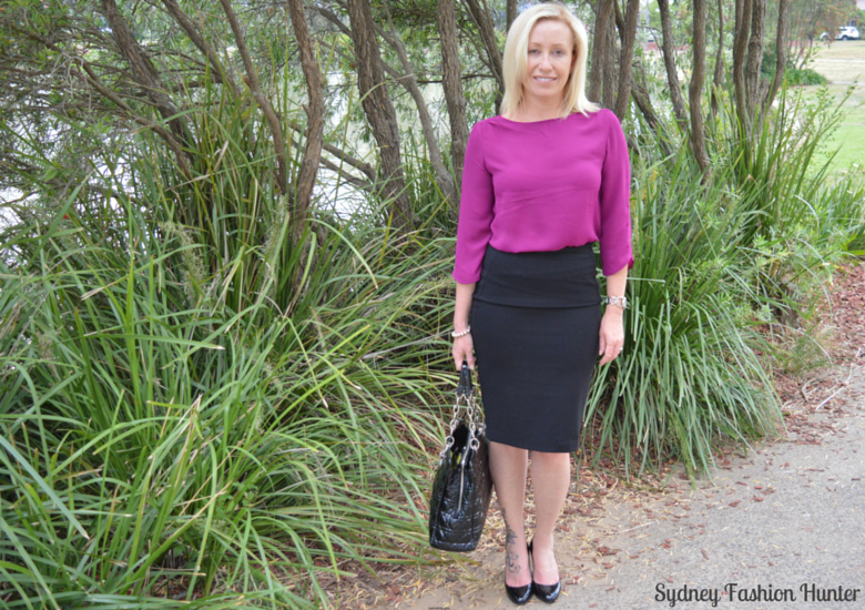 Sydney Fashion Hunter - Fresh Fashion Forum #4 - Black Pencil Skirt, Pink Boatneck Blouse, Black Patent Dior Tote, Black Patent Prada Pumps