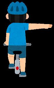自転車の手信号のイラスト(右折)
