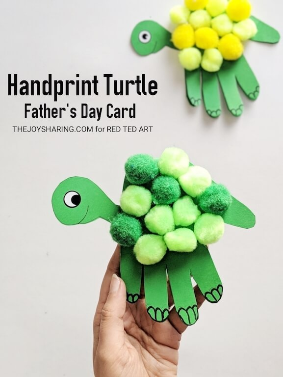 Easy step-by-step tutorial showing how to make turtle handprint craft.