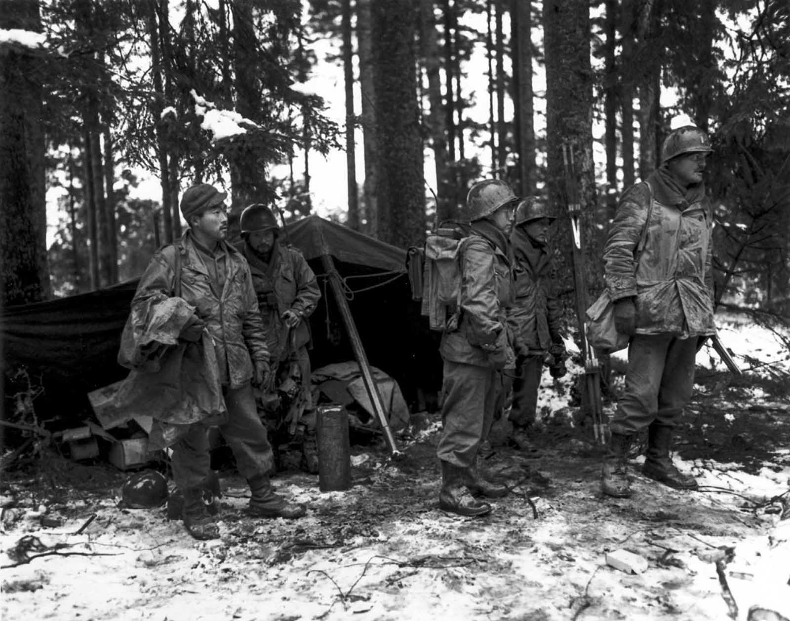 A unit of the 442nd on the front lines near St. Die, France. Nov. 13, 1944.