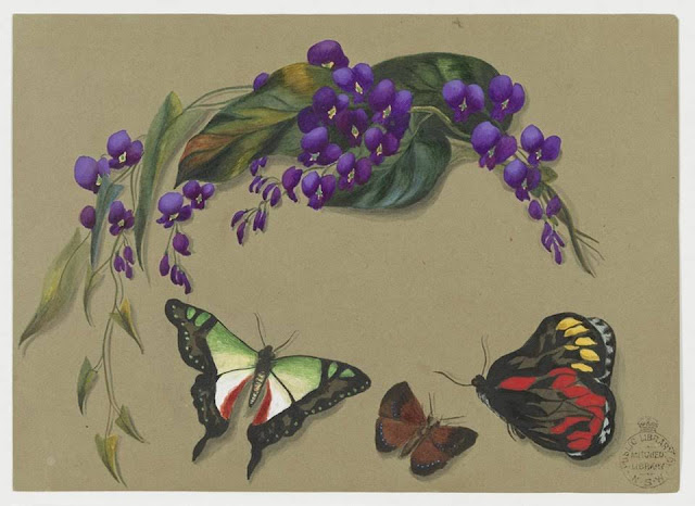 Christmas Card design depicting purple flowers and butterflies.