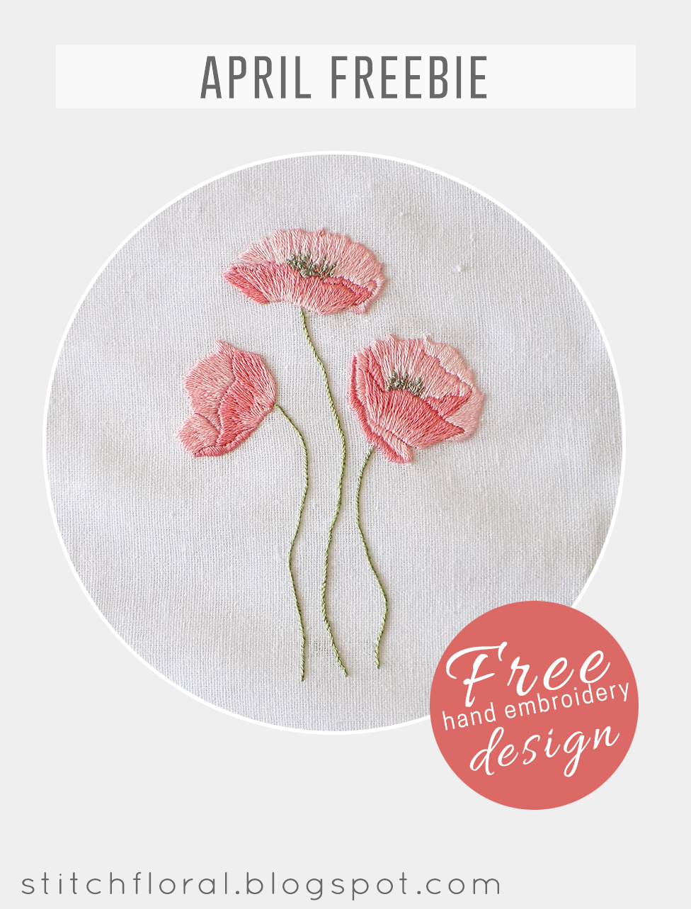 Dancing Poppies Hand Embroidery Freebie Stitch Floral