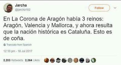 En la Corona de Aragón había tres reinos, Aragón, Valencia, Mallorca, y ahora resulta que la nación histórica es Cataluña, esto es de coña