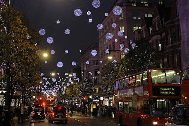 Buy canvas print of Oxford Street Christmas Lights