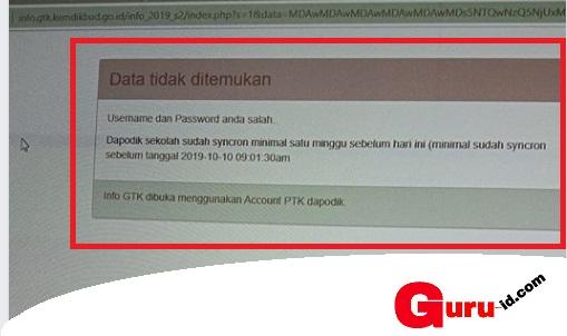 gambar username dan password salah di info gtk