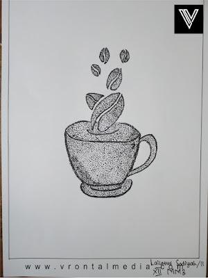 contoh gambar pointilis kopi dan cangkir