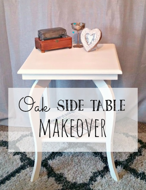 A 90's oak side table gets a fresh makeover
