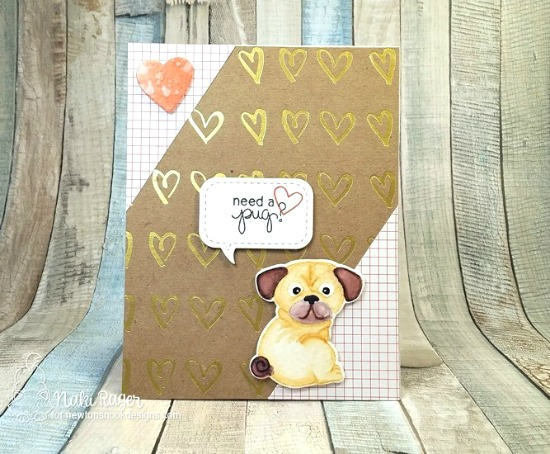 Pug Dog Card by Naki Rager | Pug Hugs stamp set by Newton's Nook Designs #newtonsnook