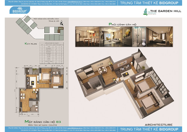 Căn hộ B3 tầng 6-29, diện tích 66m2