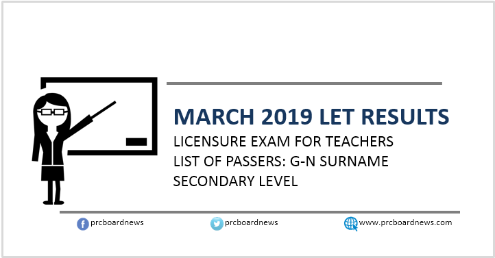 G-N List of Passers: March 2019 LET Results Secondary