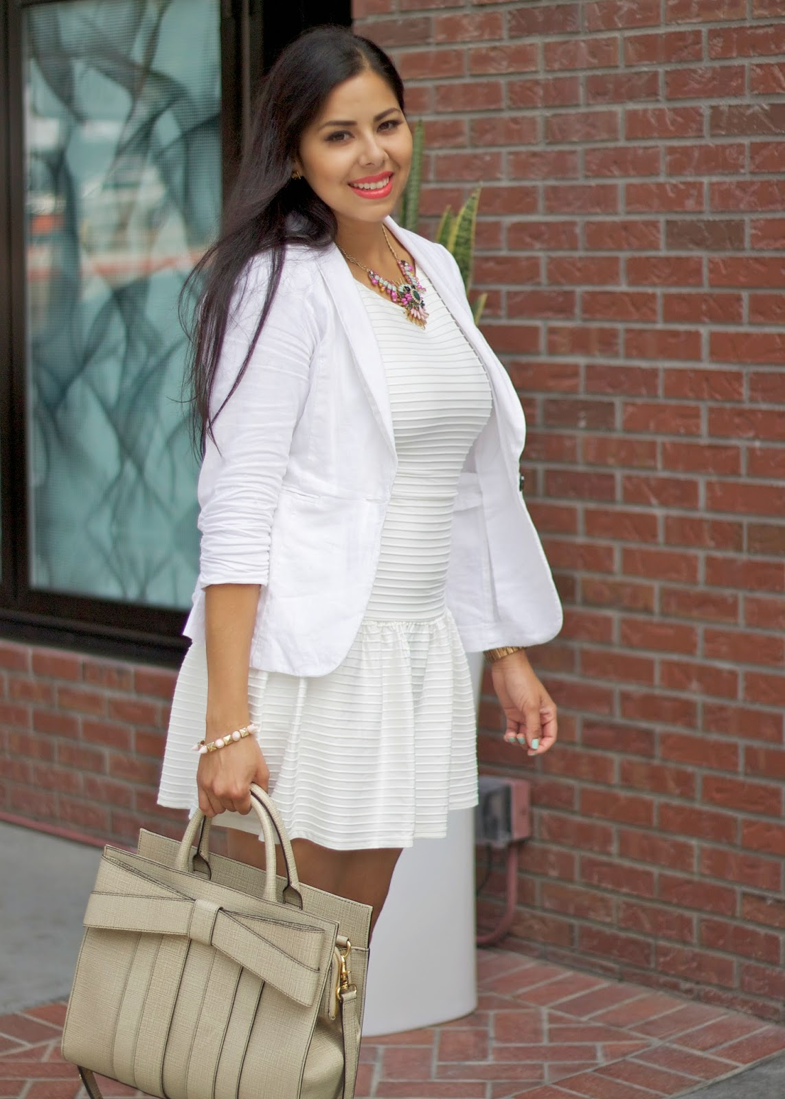 All white outfit, white chic outfit, zac posen handbag, z by zac posen purse, zac posen bow purse, all white ootd