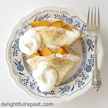 recipe, tutorial, peaches, cream, dessert
